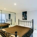 Bedroom with brown linen