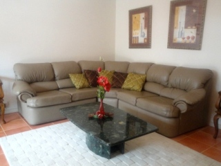 Lounge room with brown leather couch